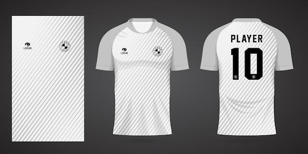 Witte sporttrui-sjabloon voor teamuniformen en voetbalt-shirtontwerp