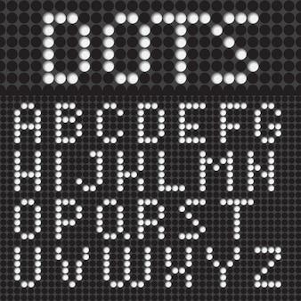 Witte stippen lettertype alfabet