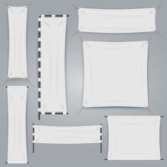 Witte stoffen textielbanner en vlag. realistisch vector textiel lint canvas. lege horizontale en verticale banner