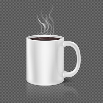 Witte stoom over koffie of thee beker