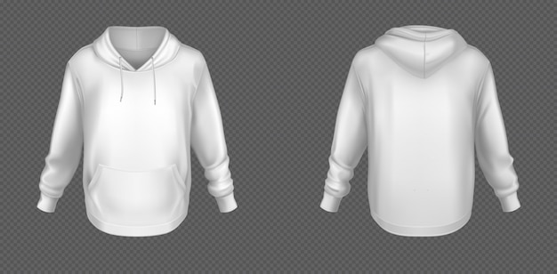 Witte sweater met capuchon, mock up voor- en achterkant