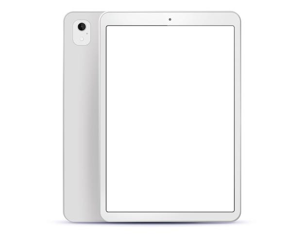 Witte tabletcomputer voor- en achterkant zijaanzicht. illustratie met wit scherm.