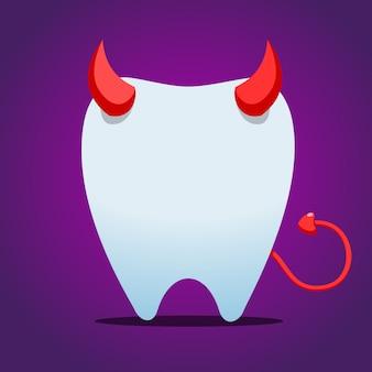 Witte tand met duivelshoorn. geïsoleerde vectorillustratie