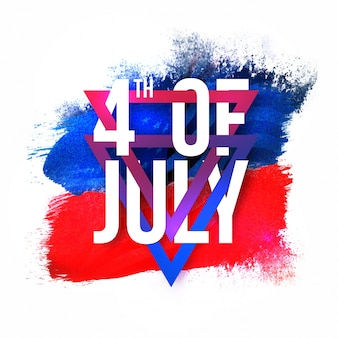 Witte tekst 4 juli met driehoeken op blauwe en rode abstracte penseelstreken achtergrond voor de amerikaanse independence day viering.