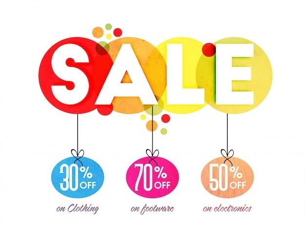 Witte tekst verkoop met hangende kortingspercentages op verschillende categorieën, creative poster, banner of flyer design.