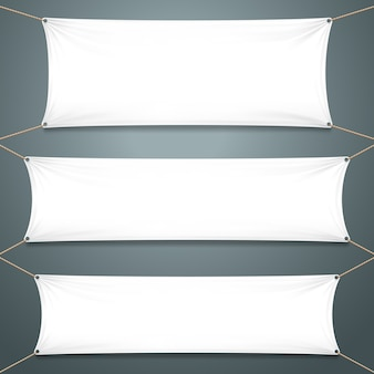 Witte textielbanners.