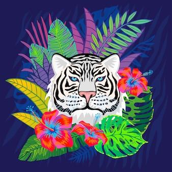 Witte tijger hoofd wilde kat in kleurrijke jungle. van regenwoud tropische bladeren tekening als achtergrond. roze tijgerstrepen karakter kunst illustratie