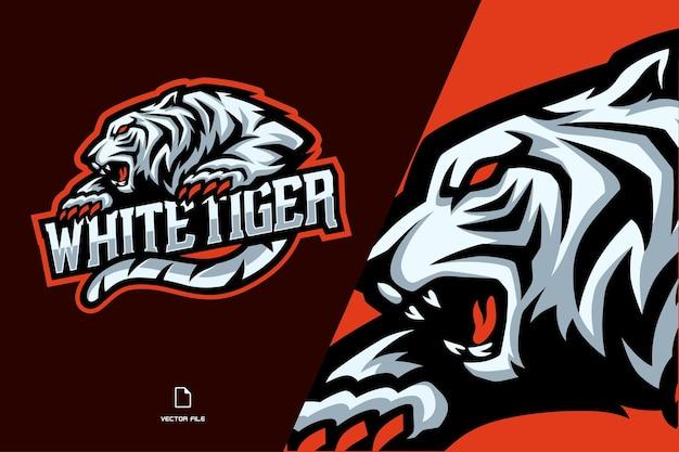 Witte tijger mascotte esport logo illustratie voor spelteam