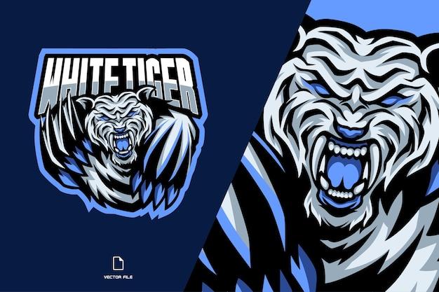 Witte tijger mascotte esport-logo
