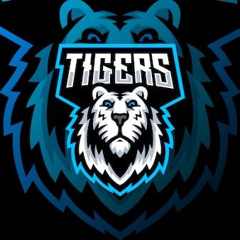 Witte tijger mascotte logo esport gaming illustratie