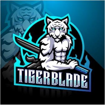 Witte tijger met mes esport mascotte logo