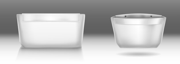 Witte toilettas met drukknoopsluiting voor make-up en beauty tools