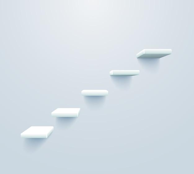 Witte trap omhoog. trap naar succes bedrijfsconcept