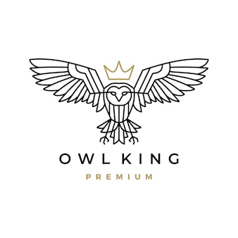Witte uil koning kroon monoline logo