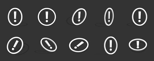 Witte uitroepteken 3d-pictogramillustratie met verschillende weergaven en hoeken