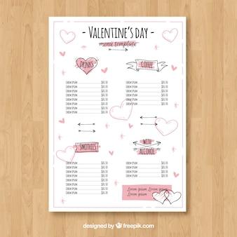 Witte valentine menu concept
