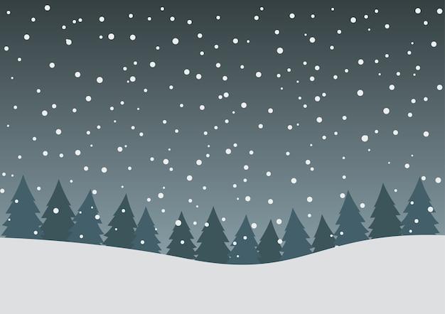 Witte vallende sneeuw en dennenbos achtergrond