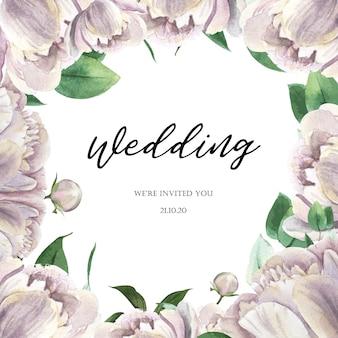 Witte van de het waterverfhuwelijk van de pioen bloeiende bloem botanische kaarten van de het huwelijksuitnodiging bloemenaquarelle