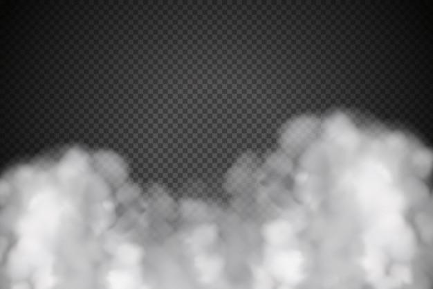 Witte vector bewolking, mist of rook op donker geruit.