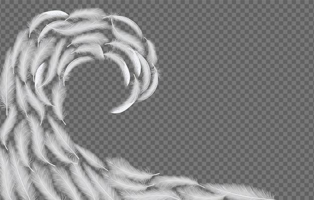 Witte veren golf vector realistische illustratie