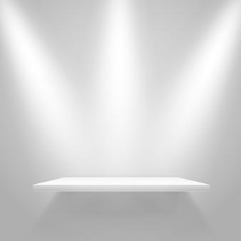 Witte verlichte plank aan de muur. vector mockup