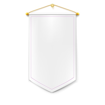 Witte verticale driehoekige wimpel met gouden koord opknoping op de muur