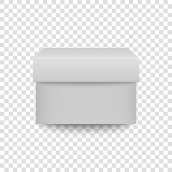 Witte vierkante doos 3d realistische container vooraanzicht. sluit geschenkdoosmodel. karton of plastic pakket. vector aanwezig wrapisolated op transparante achtergrond.