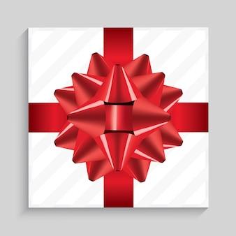 Witte vierkante geschenkdoos met rode strik en lint. bovenaanzicht. illustratie.