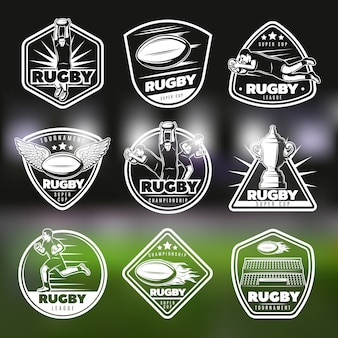 Witte vintage rugby labels set