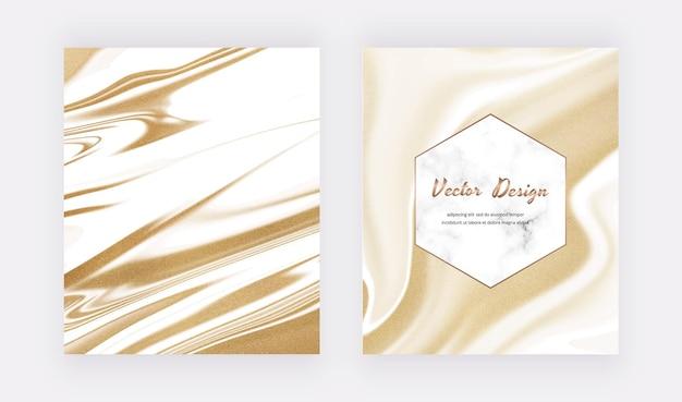 Witte vloeibare inkt met gouden glitterkaarten en marmereffect