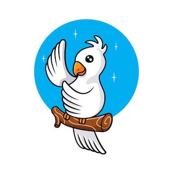 Witte vogel zwaaiende vleugel illustratie
