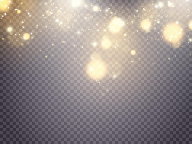 Witte vonken en gouden sterren glitter speciaal lichteffect vector schittert op transparante pagina