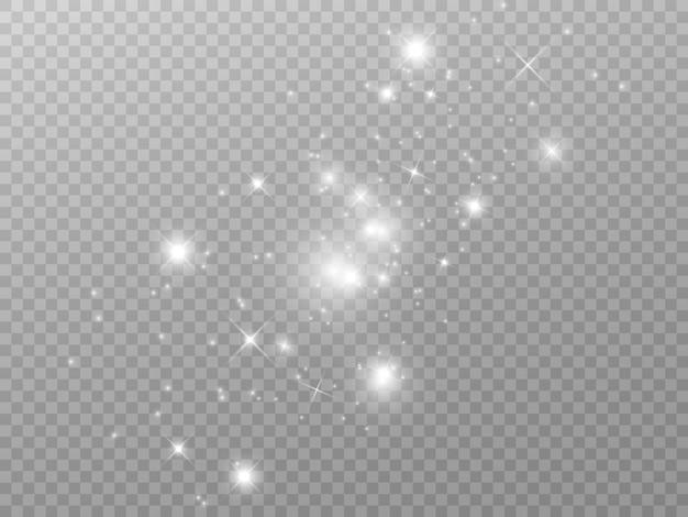 Witte vonken en gouden sterren schitteren speciaal lichteffect vector schittert