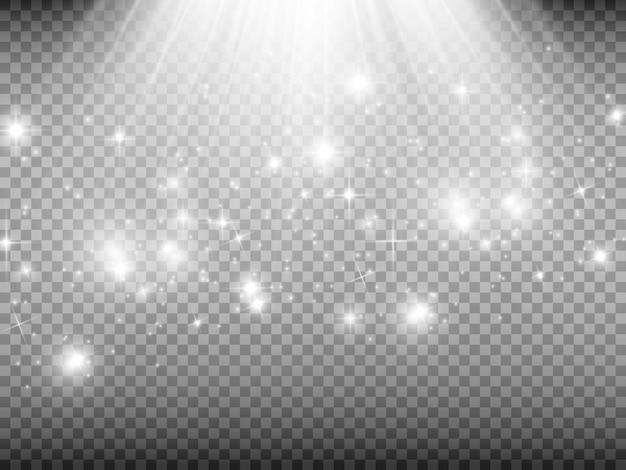 Witte vonken en gouden sterren schitteren speciaal lichteffect
