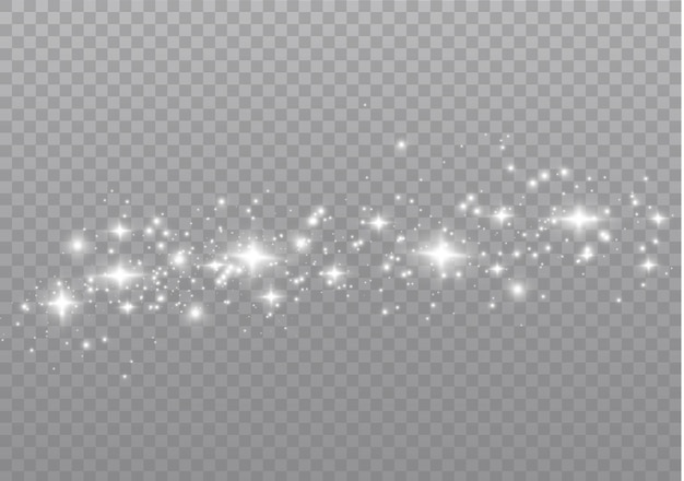 Witte vonken glitter speciaal lichteffect. schittert op transparante achtergrond. kerst abstract patroon. sprankelende magische stofdeeltjes