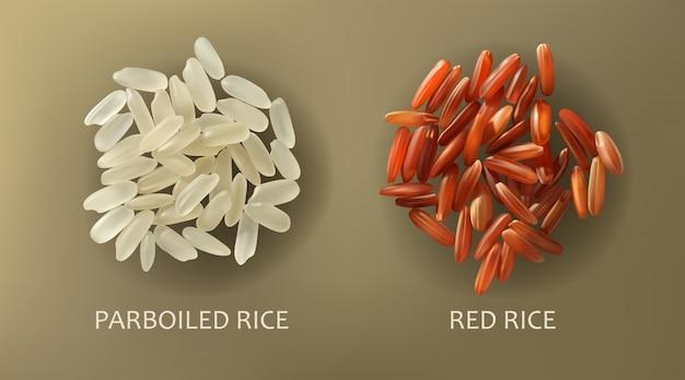 Witte voorgekookte en rode ladingrijst