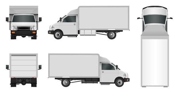 Witte vrachtwagen sjabloon. levering van bedrijfsvoertuigen in de stad.