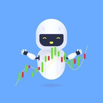 Witte vriendelijke robot met forex grafieken.