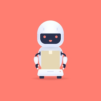 Witte vriendelijke robotkoerier kunstmatige intelligentietechnologie