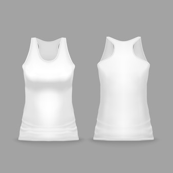 Witte vrouwelijke sport tank top illustratie van 3d-realistische casual of sportkleding