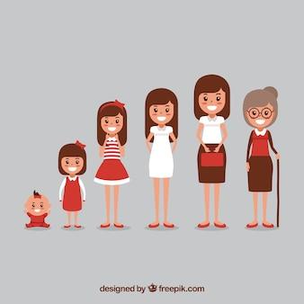 Witte vrouwencollectie in verschillende leeftijden