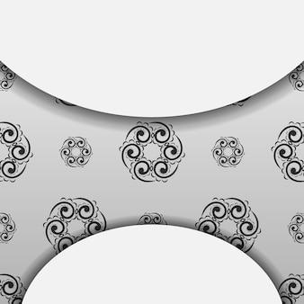 Witte wenskaart met zwart luxe ornament