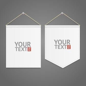 Witte wimpel sjabloon opknoping op muur met plaats voor uw tekst. vector illustratie