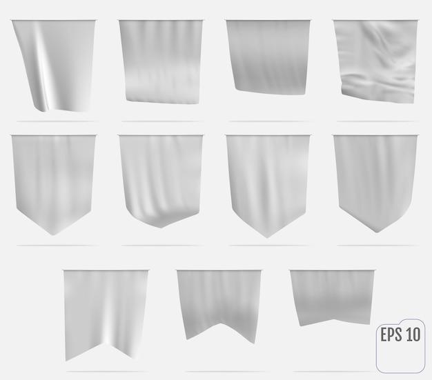 Witte wimpel sjabloon. realistische lege 3d-wimpel. vlag wappert in de wind.