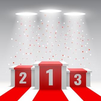 Witte winnaars podium met rode loper en confetti. podium voor prijsuitreiking. voetstuk. illustratie.