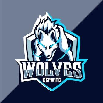 Witte wolf esport logo ontwerp