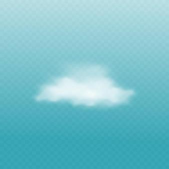 Witte wolk geïsoleerd op blauw