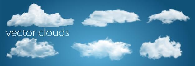 Witte wolken geïsoleerd op transparante blauwe achtergrond vectorillustratie voor u ontwerpen. weer met heldere lucht en wolkenlandschap