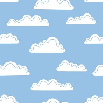 Witte wolken op een blauwe achtergrond. vector naadloos patroon