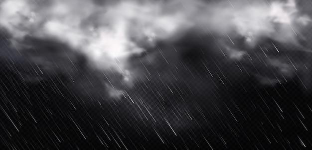 Witte wolken, regen en mist in de lucht